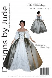 """Claire Wedding Gown for 16.5"""" RTB101 Body Printed"""