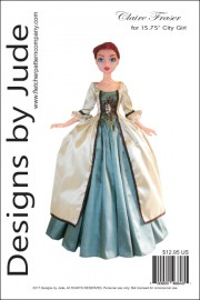"""Claire Fraser Gown for 15.75"""" City Girl PDF"""