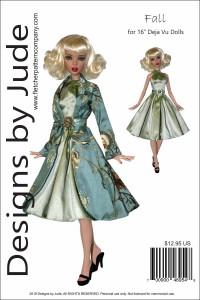 "Fall Coat & Dress Pattern for 16"" Deja Vu Printed"