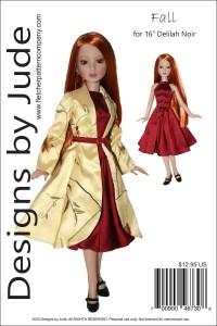 "Fall Coat & Dress for 16"" Delilah Noir Printed"