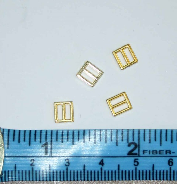 Tiny 4mm Inner Square Gold buckles, 2 pack