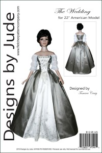 """Claire Wedding Gown for 22"""" American Models Printed"""