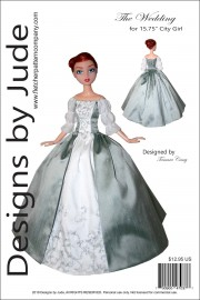 """Outlander Claire Wedding Dress for 15.75"""" City Girl Printed"""