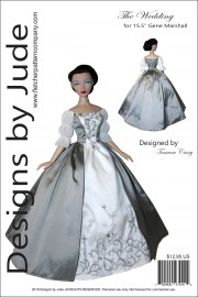 """Claire Wedding Dress for 15.5"""" Gene Marshall Printed"""