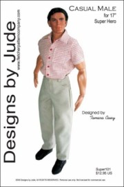 """Casual Male for 17"""" Super Hero Dolls Printed Pattern"""