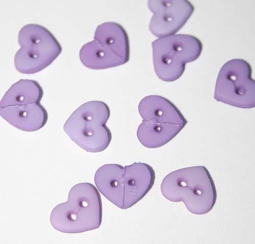 """1/4"""" Light Purple Heart Shaped Buttons"""