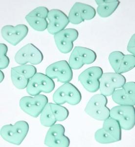 """1/4"""" Mint Green Heart Shaped Buttons"""