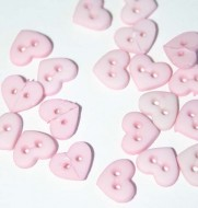 "1/4"" Pink Heart Shaped Buttons"