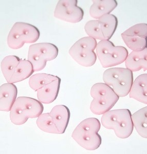 """1/4"""" Pink Heart Shaped Buttons"""