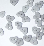"1/4"" Grey Heart Shaped Buttons"