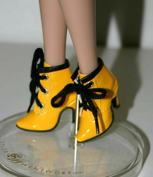 My Golly 50mm Patent Yellow Ankle Boots for Ellowyne