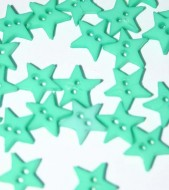 """1/4"""" Green Star Shaped Buttons"""