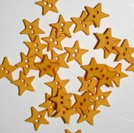 """1/4"""" Yellow Star Shaped Buttons"""